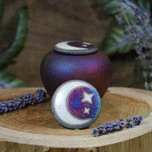 Raku Mini Jar with Moon & Stars
