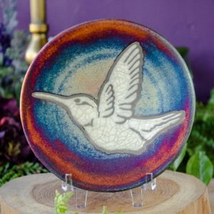 Raku Plate with Hummingbird at DreamingGoddess.com