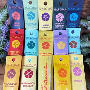 Encens d'Auroville Incense Sticks. Encens d'Auroville has a range of 50 subtle fragrances. All are unique and each selection leaves one both pleasantly surprised and surprisingly enchanted. Our incenses are consciously produced in small batches. Bamboo sticks are rolled into sandalwood powder and bound together with a natural gum resin and then dipped into our own fragrances, which have been blended with 100% natural essential oils.