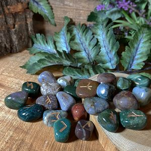 Bring new energy to your divination, magic, and meditation practices with runes. Discover the unique power of these sacred runic symbols—the magical language of the northern gods. Carved into Bloodstone, these exquisite runes are magical as well as beautiful.