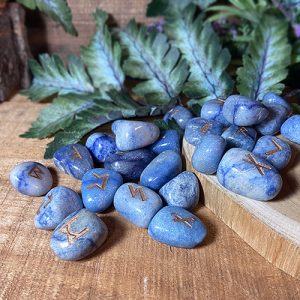 Bring new energy to your divination, magic, and meditation practices with runes. Discover the unique power of these sacred runic symbols—the magical language of the northern gods. Carved into Blue Onyx, these exquisite runes are magical as well as beautiful.