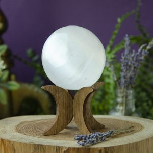 Selenite Sphere on Crescent Moon Stand at DreamingGoddess.com