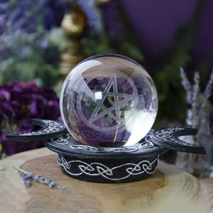 Pentagram Crystal Ball with Triple Moon Stand at DreamingGoddess.com