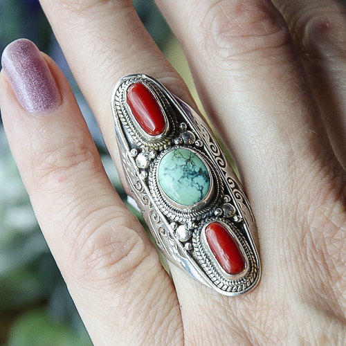 Red Coral and Turquoise Ring at DreamingGoddess.com