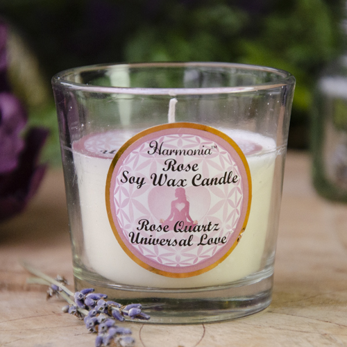 Rose Soy Candle with Rose Quartz at DreamingGoddess.com