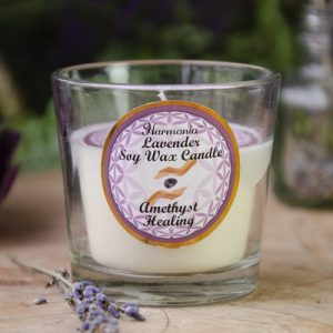 Lavender Soy Candle with Amethyst at DreamingGoddess.com