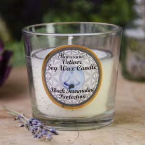 Vetiver Soy Candle with Black Tourmaline at DreamingGoddess.com